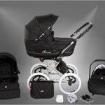 True Love Classic One Plus Kinderwagen Eco Leder (Autositz & Adapter, Regenschutz, Moskitonetz, Speichenluftreifen) 06 Eco Black - 1
